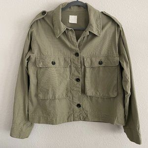Oversized boxy utility cropped green jacket